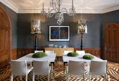 benjamin moore iron mountain dining room eclectic with square ...