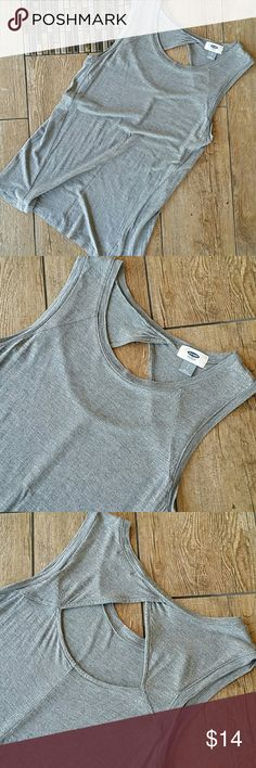 "OLD NAVY KEYHOLE TANK Medium gray tank top Wider straps Open key hole in back Flowey towards bottom 15""armpit to armpit 25"" shoulder to hem No rips, stains or pilling Smoke free home Old Navy Tops Tank Tops"
