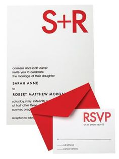 Red and white monogramed wedding invitations
