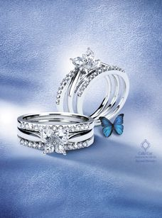 Butterfly Vintage Engagement Ring Matching Wedding Band Matching