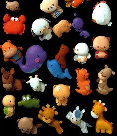 Conjunto de animalitos de fieltro pequeños
