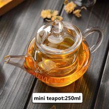 Christmas gift 250ml mini custom printed glass teapot with insufer