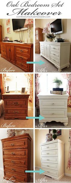 Oak bedroom set painted in DIY chalk paint. Love the difference adding feet make… Oak bedroom set painted in DIY chalk paint. Love the difference adding feet makes! More from my siteEmperor's Silk Chalk Paint® on Hoosier Cabinet Refurbished Furniture, Repurposed Furniture, Refurbished Phones, Furniture Projects, Furniture Making, Furniture Stores, Furniture Websites, Cheap Furniture, Painting Oak Furniture