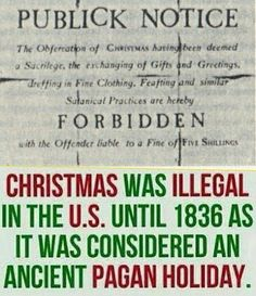 Xmas is a PAGAN Satanic tradition that is NOT in the bible at ALL. Christ was NOT born in winter. Plus God never said celebrate IT! Winter Solstice: is pagan and used to be illegal in the U. Black History Facts, Bible Knowledge, Bible Truth, Torah, Christianity, Faith, God, Paganism, Pagan Christmas