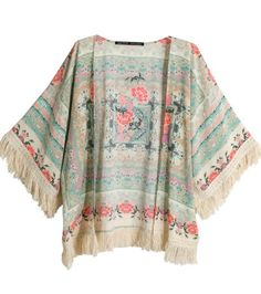 Apricot Half Sleeve Floral Tassel Cape Top 18.33