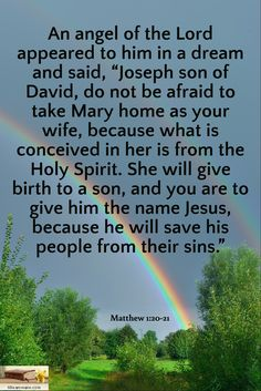 "Matthew 1:20-21 / An angel of the Lord appeared to him in a dream and said, ""Joseph son of David, do not be afraid to take Mary home as your wife, because what is conceived in her is from the Holy Spirit. She will give birth to a son, and you are to give him the name Jesus, because he will save his people from their sins."""