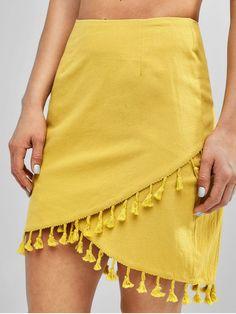 a8885981e4 [19% OFF] [POPULAR] 2019 Tassels Overlap Asymmetrical Mini Skirt In  GOLDENROD. ZAFUL