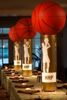 Slam Dunk Ideas for Basketball Themed Bar Mitzvah Centerpieces (Basketball Party) Sports Centerpieces, Bar Mitzvah Centerpieces, Bar Mitzvah Themes, Bar Mitzvah Party, Bat Mitzvah, Centerpiece Ideas, Basketball Party, Sports Party, Basketball Wedding