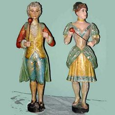 1130-7 - Band Organ Figures - $7900  Pair of European band organ figures. Minor flaking on paint.  26 inches in height.