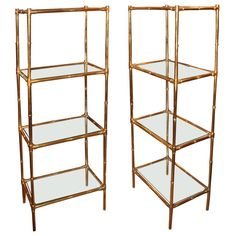 Pair of Brass and Glass Etegeres at 1stdibs