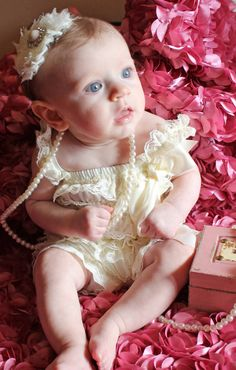 Ivory Lace Petti Romper and Shabby Headband by LaBandeauxBowtique