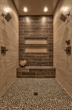 Master Bathroom shower design with pebble tile floor and bench. via Houzz Dream Bathrooms, Beautiful Bathrooms, Luxurious Bathrooms, Pebble Tile Shower, Pebble Floor, Stone Shower, Pebble Tiles, Faux Wood Tiles, Tile Showers