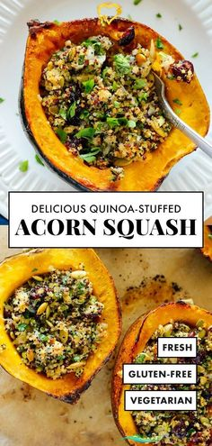 Vegetarian Stuffed Acorn Squash Recipe - Cookie and Kate This vegetarian stuffed acorn squash recipe is beautiful AND delicious! The cheesy quinoa filling develops an irresistible crispy top in the oven. This is the perfect vegetarian main dish recipe to serve on the holidays! #acornsquash #quinoarecipe #vegetarian #glutenfree #cookieandkate<br> This vegetarian stuffed acorn squash recipe is beautiful and delicious! The cheesy quinoa filling develops an irresistible crispy top in the oven… Vegetarian Main Dishes, Vegetarian Recipes, Healthy Recipes, Veg Recipes, Potato Recipes, Summer Recipes, Fall Recipes, Recipies, Baked Squash