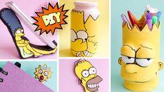 DIY 5 ideias inspiradas nos Simpsons - Porta Lápis, suporte celular, pot... #diy #polymer #clay #notebook #simpsons #meg #bart #homer #lisa #marge #biscuit #macador #pagina #tutorial #pote #decorativo #quarto #suporte #celular #porta #lápis #bloco #notas #eva #pintura
