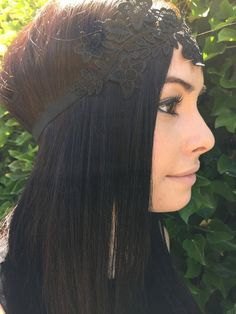 Black Flower Lace Applique Headband Stretch by DreamYourDaydream $9.... LOVE this one!!!! I just found this girl's shop today and even though it's small she has some really great stuff!!!!