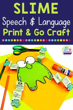 Want to keep your students motivated and engaged with fun, easy slime speech therapy activities? Look no further. These print and go speech crafts for kids are easy to prep and target many different goals. They also work great for speech room décor and slime speech therapy bulletin boards. These speech and language activities work great for toddlers up to later elementary students.  #speechtherapy #speechandlanguage #articulation #speechcrafts #slime #Speechbulletinboard