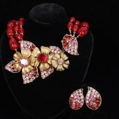 198. Miriam Haskell 2pc. Floral Necklace & Clip on Earrings Lot 198