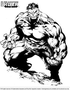 Hulk (superheroes) – printable coloring pages Black And White Comics, Black And White Sketches, Black And White Artwork, Hulk Marvel, Marvel Dc Comics, Comic Book Heroes, Comic Books Art, Comic Art, Hulk Coloring Pages
