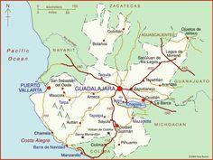Map of Jalisco, Mexico - Guadalajara, Chapala, Puerto Vallarta,
