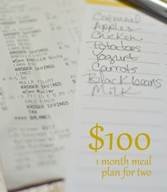 $100/month meal plan for two...pinning now, reading later! We spend four times this...at least!