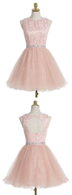 A-line Scoop Short Champagne Organza Homecoming Dress With Crystal Lace