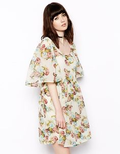 ASOS Dress In Floral Print With Angel Sleeves