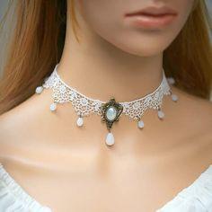 Blanco delicado Rose de encaje gargantilla por FairybyFoxie en Etsy