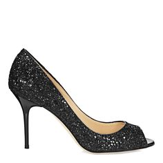 Black Glitter Evelyn Peep Toe Shoes Heel 8.5cm