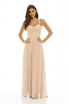Nude Spaghetti Strap Crochet Bustier Top Pleated Maxi Dress