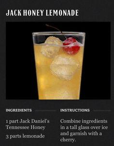 Jack Daniels Honey Lemonade (try 2 parts lemonade) Liquor Drinks, Whiskey Drinks, Cocktail Drinks, Cocktail Recipes, Alcoholic Drinks, Beverages, Scotch Whiskey, Irish Whiskey, Cider Cocktails