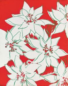 Andy Warhol, Poinsettias, circa 1983 synthetic polymer and silkscreen inks on canvas, x Private collection Andy Warhol Flowers, Christmas Drawing, Christmas Art, Christmas Poinsettia, Xmas, James Rosenquist, Claes Oldenburg, Textiles, Impressionism