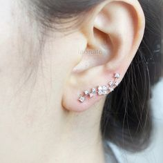 CZ Wave Ear Pin / choose your color  gold and silver by laonato