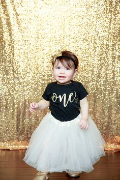 1st Birthday Girl Outfit First Birthday Outfit Birthday  This 1st Birthday Girl Outfit including an ivory tutu, custom shirt and gold bow is the perfect outfit for her first birthday party or cake smash and is sure to have everyone asking you where you got this precious outfit.