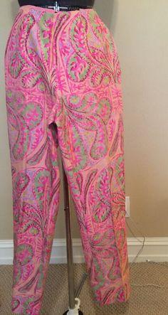 RALPH LAUREN BLACK LABEL Pink Silk Paisley Print Crops Capris  pants Sz 2 #RALPHLAURENBLACKLABEL #CaprisCropped