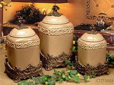 Drake Design, set of 3 large canisters, taupe.
