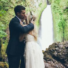 Waterfall Elopement in the Rainforest; photography: Carl Zoch // location: Wahclella Falls, Oregon on the Columbia River Gorge // florist: Lucy's Informal ...