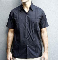 2b2d5eb514f93 short-sleeve-black-cotton-guayabera-shirt