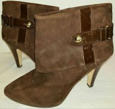 Antonio Melani Brown Chocolate Suede Leather Ankle 10 M Boots Buckle Fashion EUC #AntonioMelani #AnkleBoots #Formal