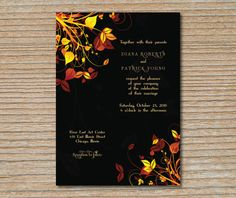 Wedding Invitation - Autumn Leaves - Deep Brown, Orange, and Yellow