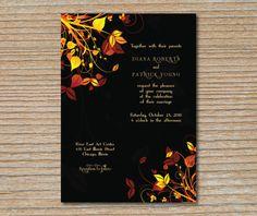 Wedding Invitation - Autumn Leaves - Deep Brown, Orange, and Yellow
