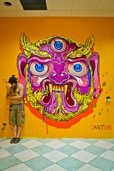 "Street art | Mural ""Tibetan Mask"" (San Nicandro Garganico, Italy, 2014) by Caktus"