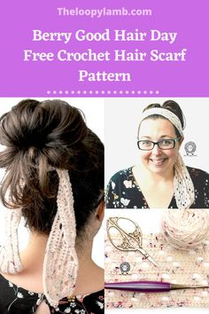 Say goodbye to bad hair days with the Berry Good Hair Day Free Crochet Hair Scarf pattern from The Loopy Lamb. This quick and easy project works up quickly and is a great hair accessory that can be worn in a number of ways to accessorize your outfit. #crochethairtie #crochetaccessory #freecrochetpattern #fastcrochetpattern Crochet Hair Accessories, Handmade Hair Accessories, Crochet Hair Styles, Fast Crochet, Love Crochet, Crochet Yarn, Scarf Hairstyles, Cool Hairstyles, Knitted Headband