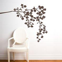 decor, idea, white walls, wall decals, coastlin blossom, wall stickers, birds, blossoms, room