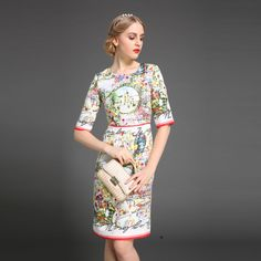 Vestido   Autumn Women Slim Dress Runway Brand Jacquard Floral Print Casual Dress