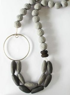 Handmade necklace in two-colour grey papier-mache with silver 925, lava beads and fresh water pearls.