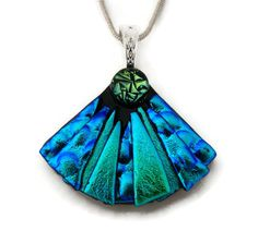 Handmade Dichroic Glass Pendant includes necklace * Picasso Style Mini Fan  *
