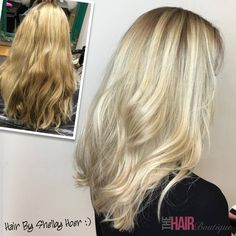 Another stunning blonde transformation by Shelby Hoer.  Since joining the team here, Shelby has produced some amazing work for her clients. As a result she has been promoted to senior stylist, and we are all excited to see her develop and build her skills even further.  In this before photo you can see Shelby's client's hair was dull and long over due for a refresh. Shelby used Goldwell and Olaplex products to give her client this gorgeous blonde colour with dark roots.
