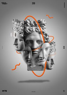 Original, inventive and almost poetic creation made with many pictures of Apollo's head surrounded by different orange ellypses. Graphic Design Posters, Graphic Design Illustration, Graphic Design Inspiration, Graphic Art, Illustration Art, Glitch Art, Art Vaporwave, Posters Conception Graphique, Design Art