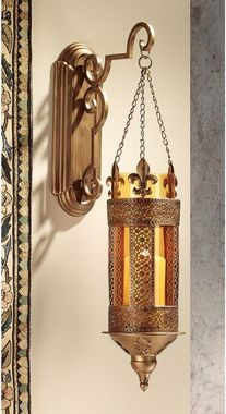 I would prefer it in a less shiny metal finish, but -that- is easily fixed. LINK - http://www.designtoscano.com/product/medieval+and+gothic/gothic+home+decor/kinnaird+castle+hanging+pendant+wall+sconce+-+mh82097.do?sortby=bestSellers