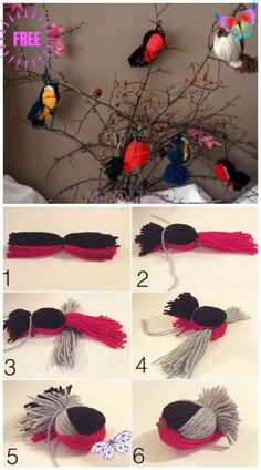 Kids Craft: Fun Yarn Birds DIY Tutorial - Video<br> Fun Crafts For Kids, Cute Crafts, Diy For Kids, Diy And Crafts, Arts And Crafts, Creative Crafts, Crafts With Wool, Yarn Crafts Kids, Easy Yarn Crafts